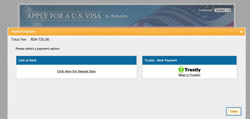 Cum platim taxa viza SUA?