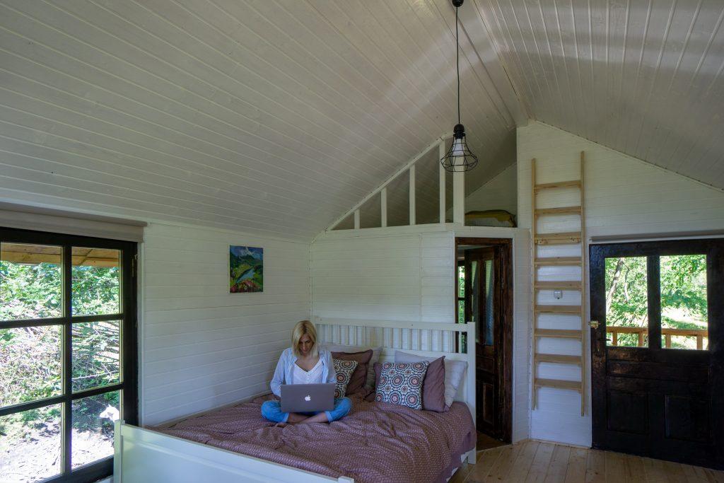 The Loft Tree House interior Transylvania Log Cabins