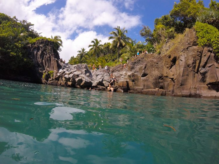 cliff jumping Venus Pool Road to Hana Maui Hawaii