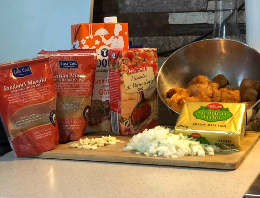 Ingrediente reteta de pui indian cu unt - butter chicken