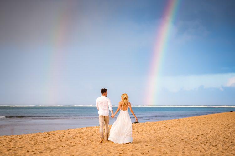 Curcubeu dublu la ceremonia foto din Hawaii