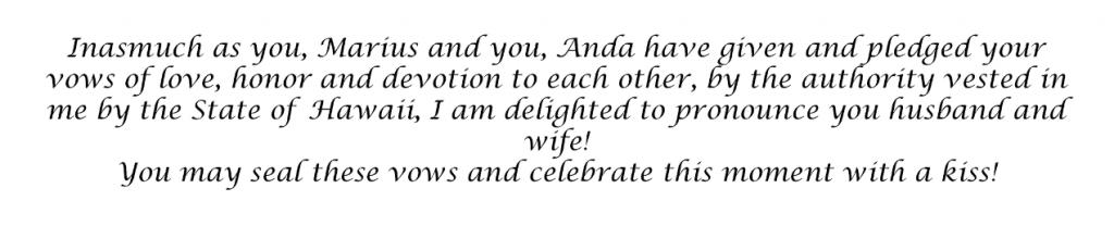Nunta in SUA - pronuntarea casatoriei si sarutul